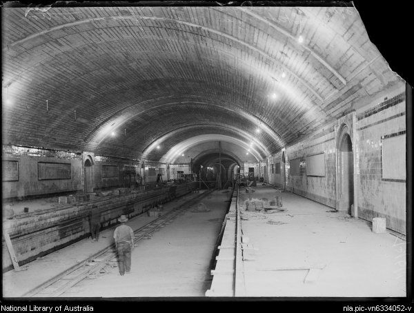 Museum Railway Station in Sydney under construction.Photo from National Library of Australia.A♥W