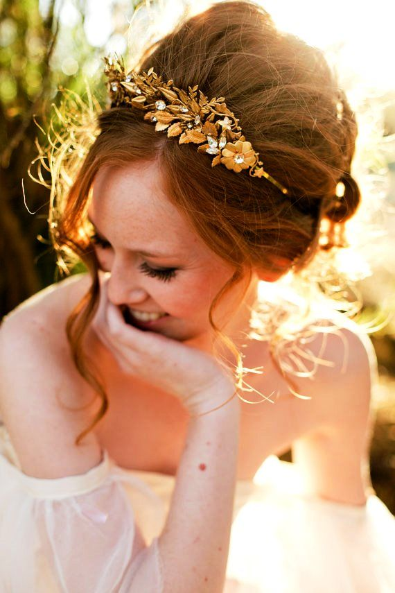 Bride's messy bouffant updo bridal hair ideas Toni Kami Wedding Hairstyles ♥ ❶  Jeweled headpiece ginger