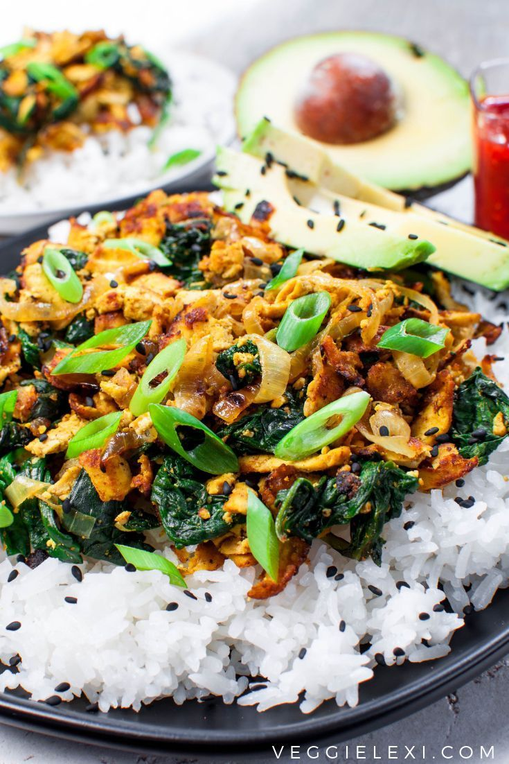 Shredded Curry Tofu With Spinach Makes A Delicious