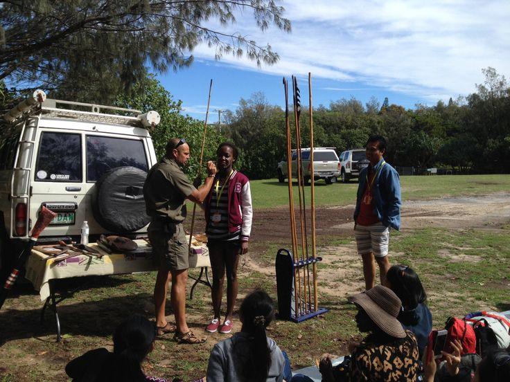 Matthew Burns Aboriginal cultural workshop. BISA 2014 Students. #quandamookacountry #welovestraddie