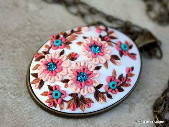 Lovely Polymer Clay Applique Statement Pendant by charancreations