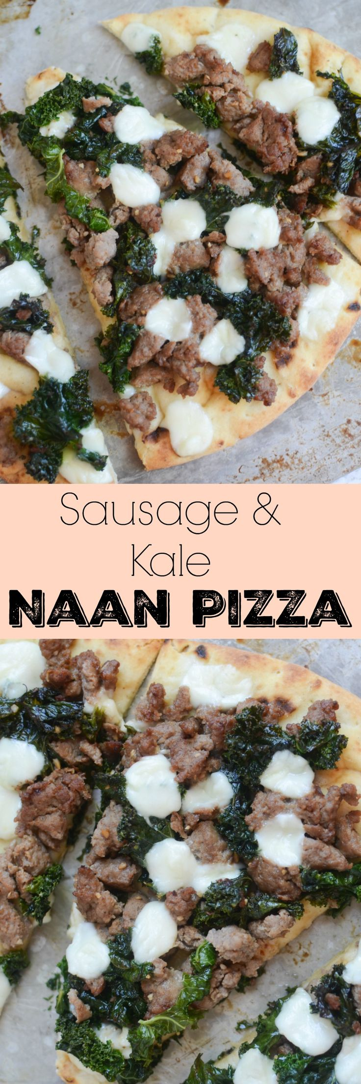 Sausage and Kale Naan Pizza - an easy and healthy way to do pizza night! Turkey sausage, kale, and mozzarella on top of delicious naan bread!