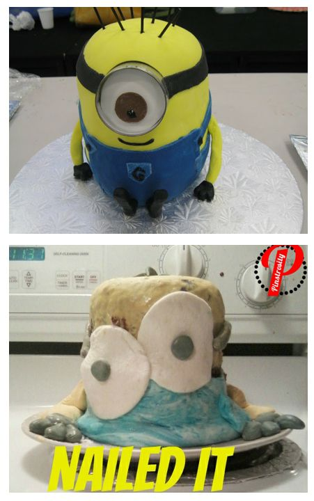 Minion Cake:  (Pinterest Projects that Failed: Depressing when its you, but entertaining for others.)  Ha! Ha!