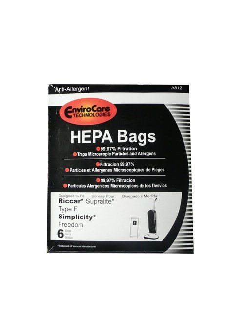 6 Riccar HEPA Type F Vacuum Bags, Simplicity, Freedom, Supralite, Canister Vacuum Cleaners, RSLH-6, SF-6, RSL1, RSL1A, R