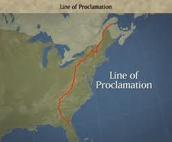 After Pontiac's War, the Parliament established a rule called the Proclamation of 1763. The Proclamation of 1763 forbids colonists to settle or past over the imaginary line which is drawn on top of the crests of the Appalachian Mts.