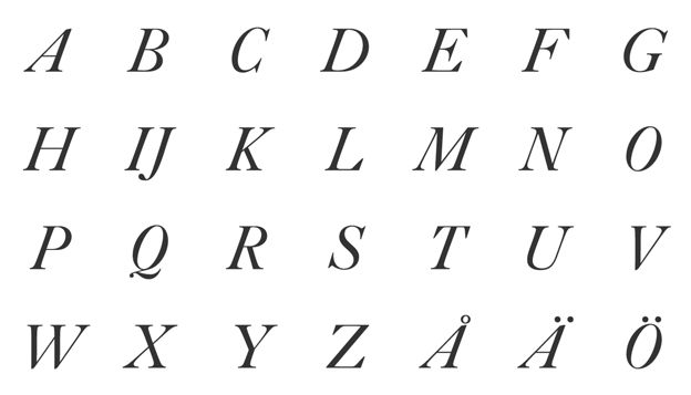 ITALICS - Roman typefaces are usually upright, italic typefaces slant to the right. But rather than being just a slanted or tilted version of the roman face, a true or pure italic font is drawn from scratch and has unique features not found in the roman face.