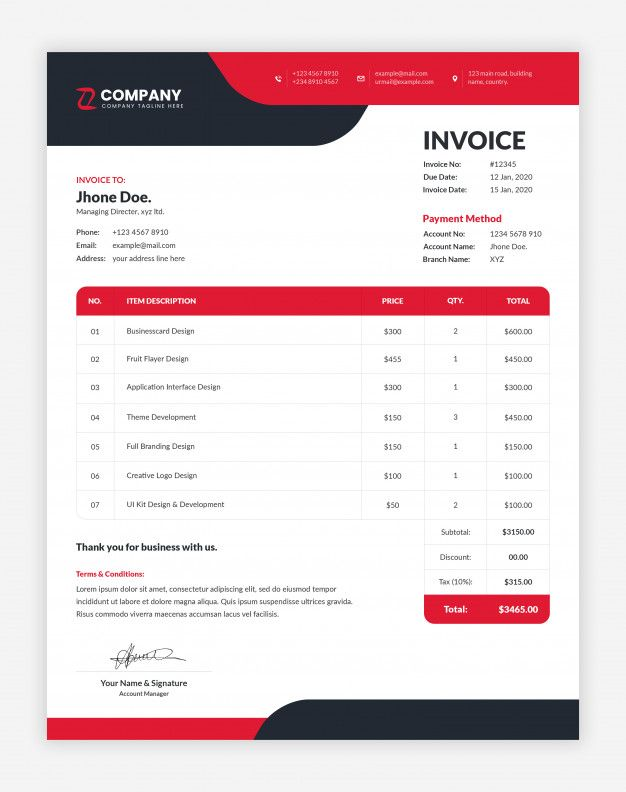 Modern Red And Black Corporate Professional Business Invoice Template Invoice Template Photography Invoice Template Invoice Design