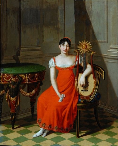 31-10-11  Lady with a Harp Lute by Pietro Nocchi, 1811 Italy, the Bowes Museum