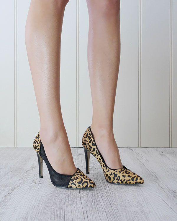 Thea heels - animal print, mesh detail