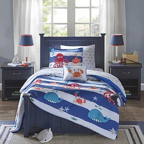 8 Piece Kids Blue Under Water Fishy Theme Comforter with Sheet Full Set, Fun Sea Life Star Fish Bedding, All Over Fishes Blue Whale, Sea Horses, Octopus, Crab, Horizontal Aqua Stripe Wave Pattern Set Includes: Set Includes: One comforter, two matching shams, one flat sheet, one fitted sheet, two pillowcases, one decorative pillow Dimension: Comforter: 76 inches wide x 86 inches long