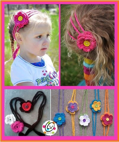 """Materials: Small amounts of worsted weight yarn, various colors  H, J hooks  1 - 1"""" button (or size to fit hole in flower and heart)  Yarn needle to weave in ends  Sewing needle and thread to sew button on  Sizes: Directions for several sizes are listed. Because this band ties in the"""