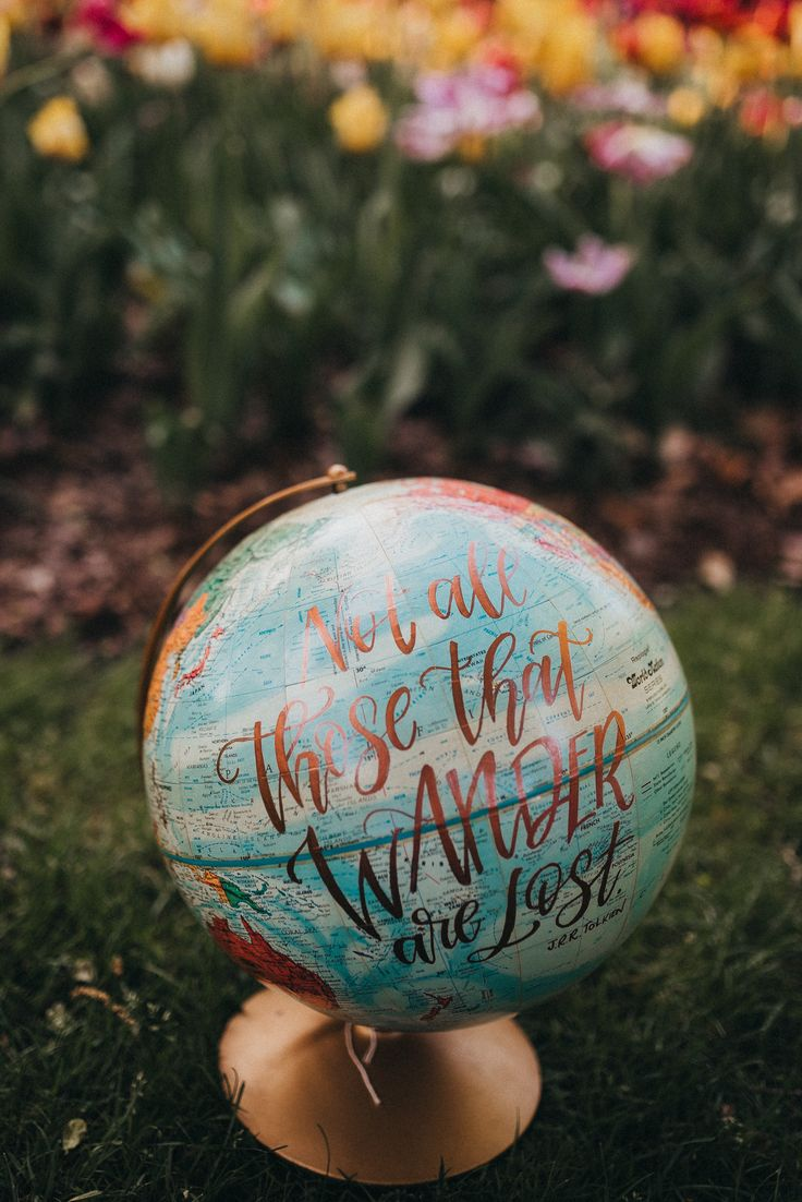 1df02b984d6 12 in Vintage Globe - Not All Those That Wander Are Lost  globe   handlettered