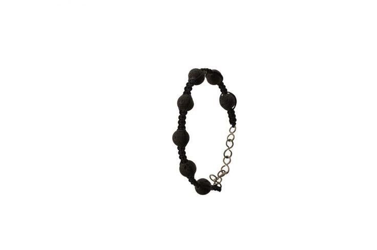Ανδρικό πλεκτό βραχιόλι με λάβα - Macrame bracelet with lava
