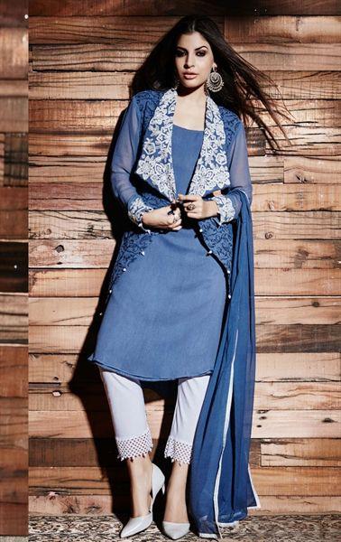 Ravishing Dusty Blue Online Designer Salwar Kameez