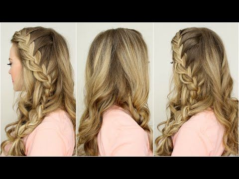 I think I found my hair style for my bridesmaid outfit. Half Up Side French Braid with big curles