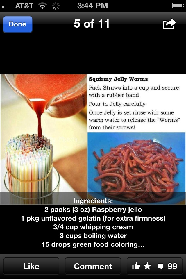 Homemade gummy worms. I think I will make these stuffing the ends with marshmallows to stop the liquid from leaking out.