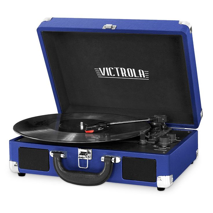 Victrola Portable Suitcase Record Player with Bluetooth, Blue