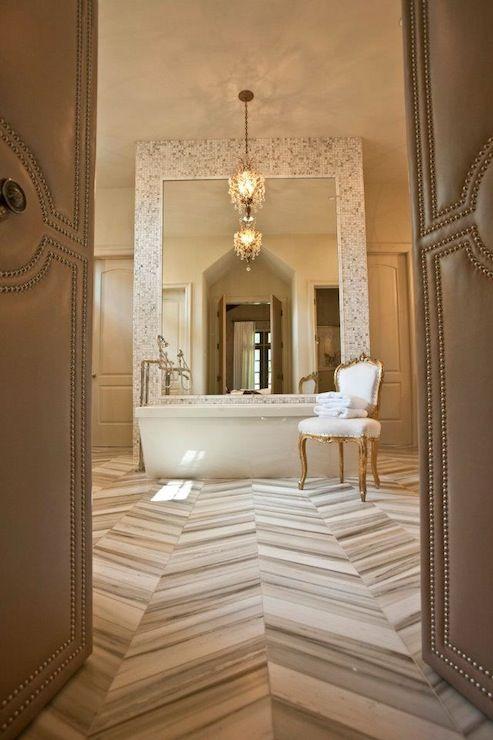 Marble Chevron Herringbone Tiled Floor