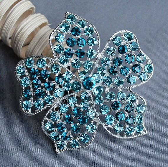 Rhinestone Brooch Teal Aqua Turquoise Tiffany Blue Crystal Wedding Bridal Button Brooch Bouquet Cake Hair Comb Shoe Clip BR323