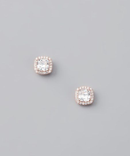 Rose Gold & Cubic Zirconia Stud Earrings | zulily