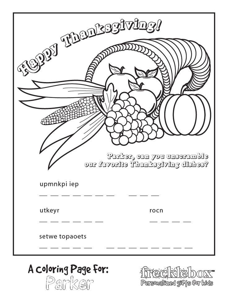 customize cornucopia free coloring page