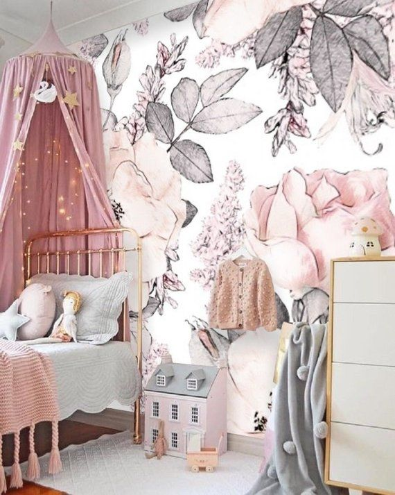 Blush Pink Flower Wallpaper Peel Stick Mural Remove Floral Wallpaper Watercolor Floral Nursery Wall Paper Removable Wallpaper Vintage 147 Floral Wallpaper Nursery Nursery Wallpaper Pink Flowers Wallpaper