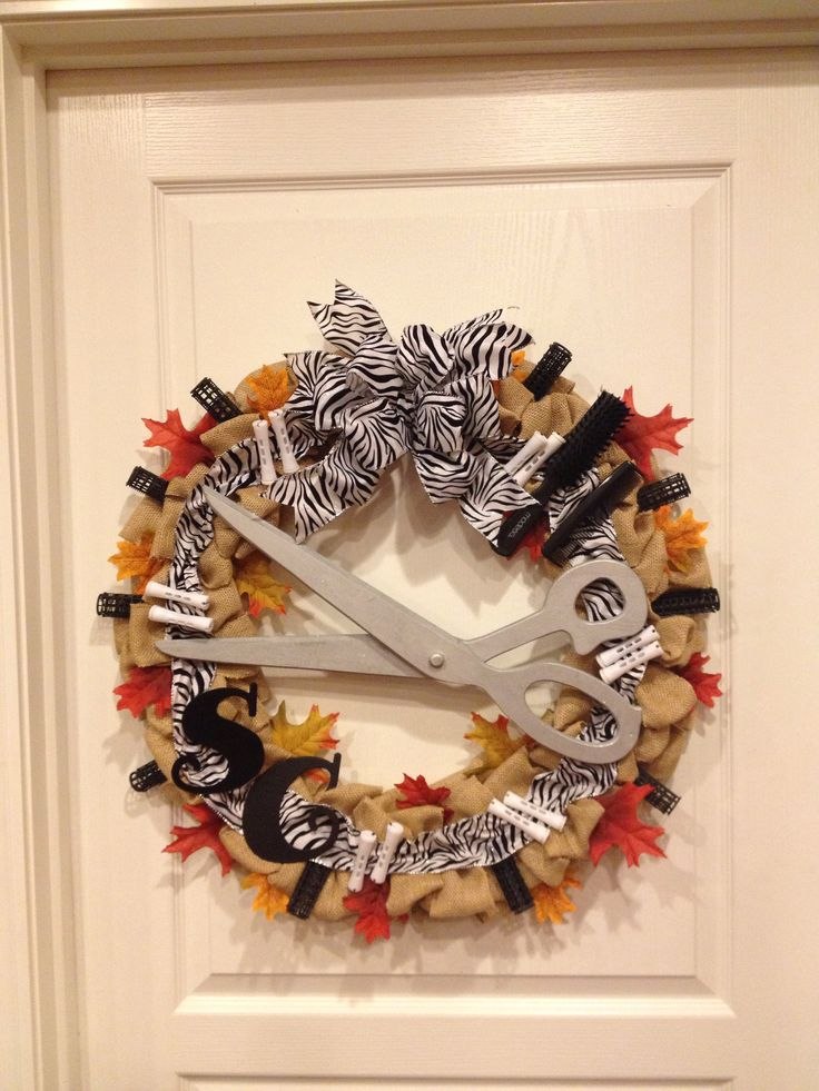 Burlap Wreath With Curlers Perm Rollers Hairbrush Comb