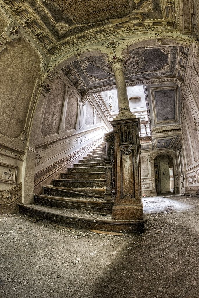 The grand staircase - I can just picture it in its grandeur.  Great site with beautiful decaying architecture.