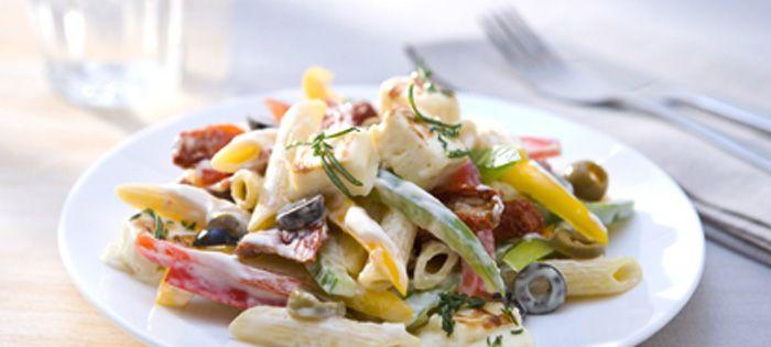 Wir lieben Grillen - Mediterraner Miracel Whip Nudelsalat mit gegrilltem Feta