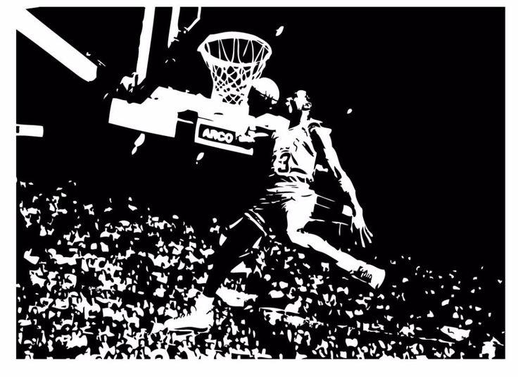 Michael Jordan Chicago Bulls Basketball Dunk Dorm Decor Silhouette WALL ART STICKER VINYL DECAL ROOM STENCIL MURAL HOME OFFICE