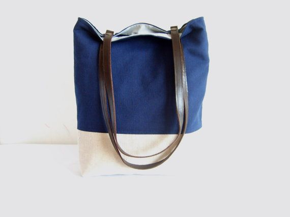 Navy tote, navy blue bag, leather handles, colorblock tote bag, fall tote, autumn bag, linen tote https://www.etsy.com/treasury/NTM5ODkzNXwyNzI0OTAwMDE4/trending-blue-for-fall