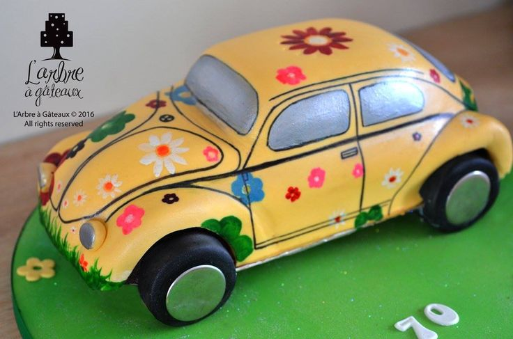 Birthday Beetle car power flower sculpted 3D, painted cake.