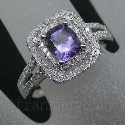 Solid 14kt White Gold Diamond Emerald Cut Purple Amethyst Wedding Ring 2T018 | eBay