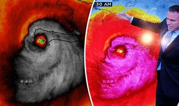 SKULL of Hurricane Matthew appears as hurricane wreaks havoc in Haiti | Weather | News | Daily Express