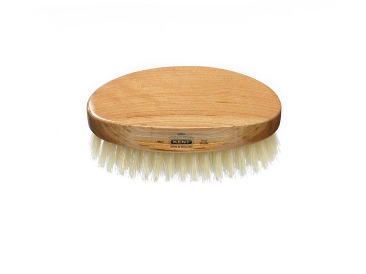 Oval - Cherry Wood, Travel-Size, Pure White Bristle Hair Brush