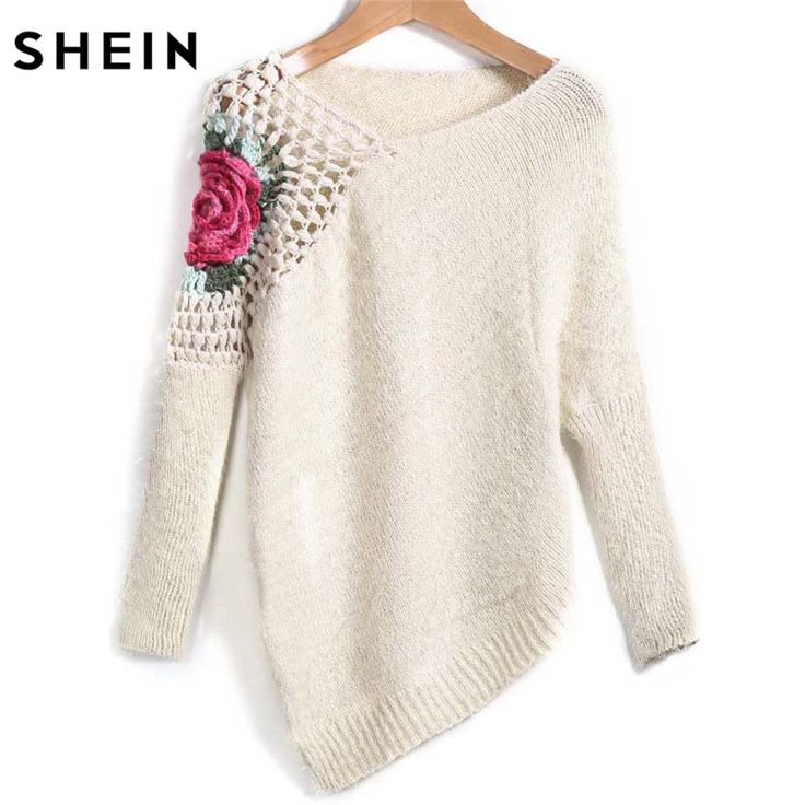 Apricot Round Neck Floral Crochet Loose Sweater Fall Women New Sweaters Embroidery Asymmetrical Pullovers