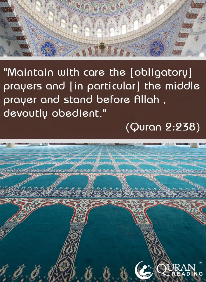 """""""Maintain with care the [obligatory] prayers and [in particular] the middle prayer and stand before Allah , devoutly obedient."""" (Quran 2:238)   #Quran #Prayer #Salah"""