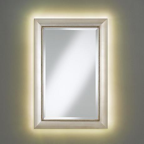 13909 Jocelyn Silver Beading Mirror With LED Light Kit