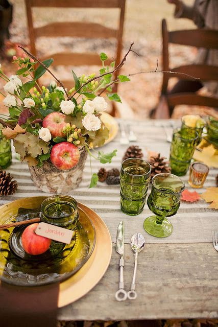 I like the flower arrangement: Fall Tables Sets, Idea, Pine Cones, Centerpieces, Tablescape, Thanksgiving Tables, Colors Glasses, Tables Decor, Fall Wedding