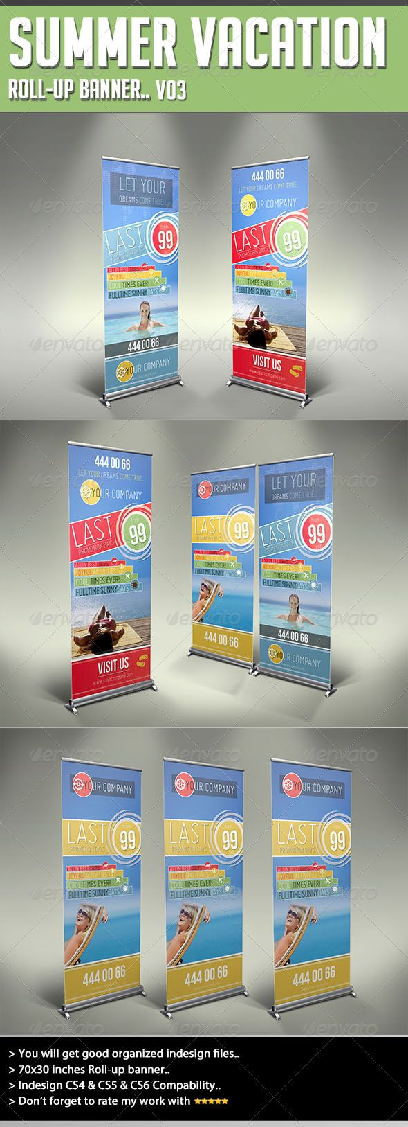 Roll-up Banner - Summer Vacation  #GraphicRiver         Thank you for purchasing my file.. If you have any problems or want a custom job, feel free to contact me via profile will be glad to help. Summary 70×30 inches Roll-up banner..  300 dpi and CMYK  Print ready What you get There are seven files included. .Six files for roll-up banner (indd & idml).. And a help pdf file.. Fonts  Bebas Neue ( .fontsquirrel /fonts/Bebas-neue) Miso ( .fontsquirrel /fonts/miso) Please do not forget to rate if…