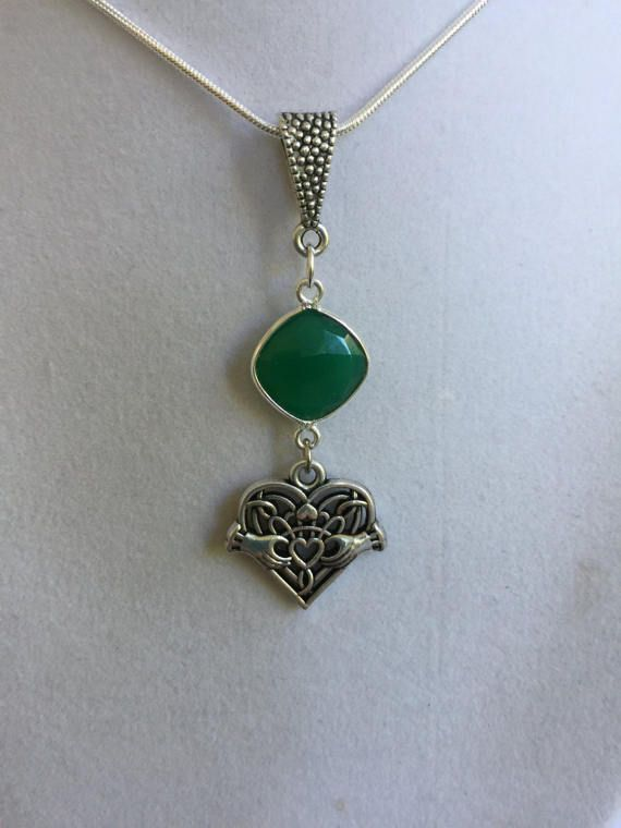 Celtic Silver Design and Green Onyx Necklace by joytoyou41 on Etsy