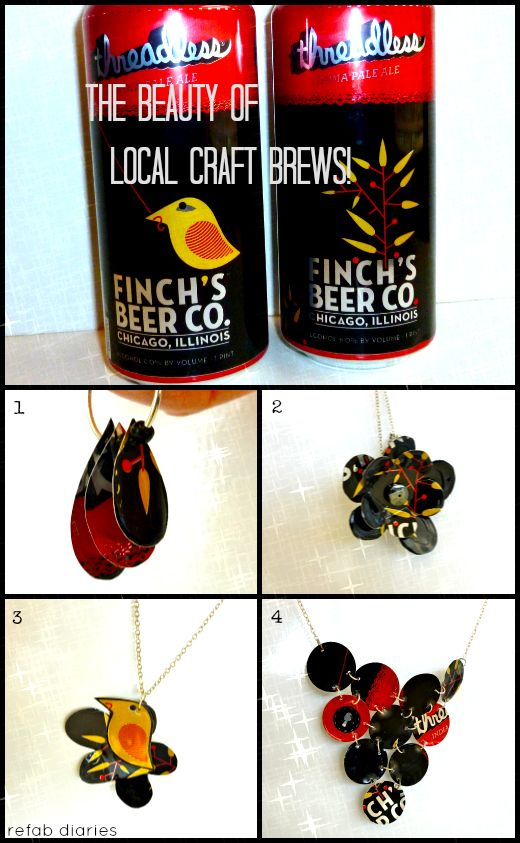 Mmmm, beer… jewelry. Check out this awesome wearable art created with Threadless IPA cans. These totally rad pieces were created by upcycler extraordinaire, Candice of the ReFab Diaries and she wants you to make your own! Give a go at making your own IPA earrings using her tutorial! http://www.refabdiaries.com/2013/03/upcycle-finchs-threadless-ipa-earrings.html