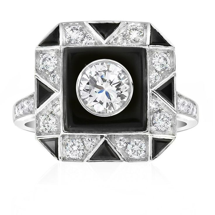 Noir onyx and diamond dress ring. Inspired by the striking geometric patterns of the Art Deco period. Width at top of ring: 14mm. Crafted in 18ct white gold. This ring will be customised to perfectly fit your finger, which may take up to 6 weeks.