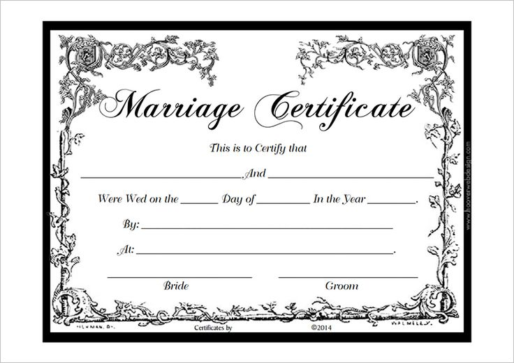 Marriage Certificate Template Pdf Certificate Templates