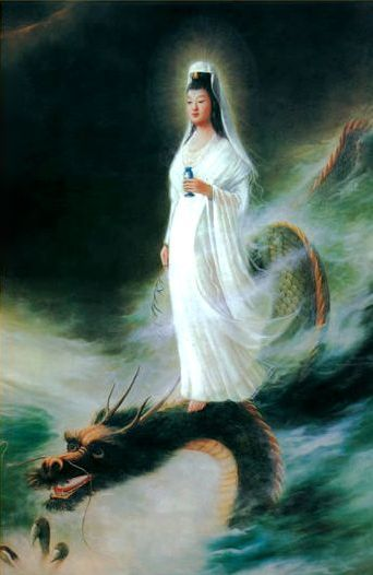Goddess of Mercy rides on lotus flower, dragon or cloud, she floats graciously to deliver her devine love