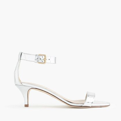 Mirror metallic kitten-heel sandals