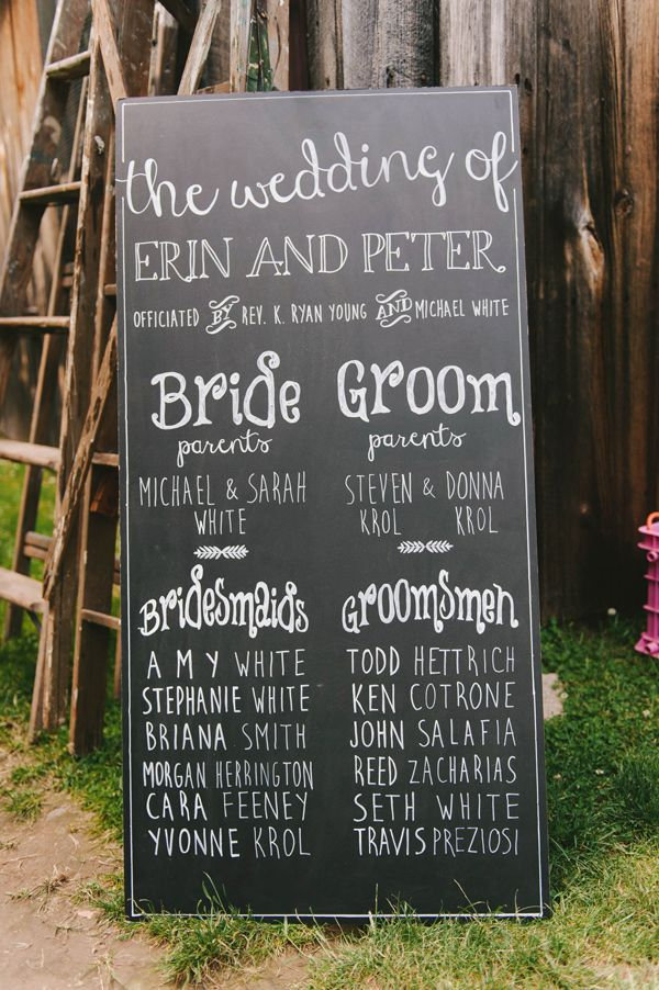 bridal party sign, photo by Michelle Gardella http://ruffledblog.com/glittery-webb-barn-wedding #weddingideas #chalkboard
