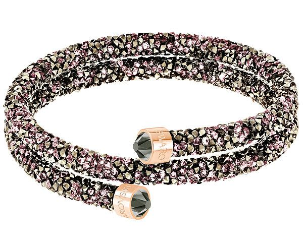Crystaldust Double Bangle, Multi-coloured, Rose gold plating - Jewellery - Swarovski Online Shop