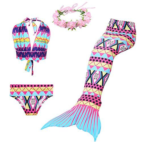 bf4606b87b624 Bigface Up Girls 4PCS Bikini Set Mermaid Tail Swimwear Swimmable Mermaid  Tail for Swimming(with