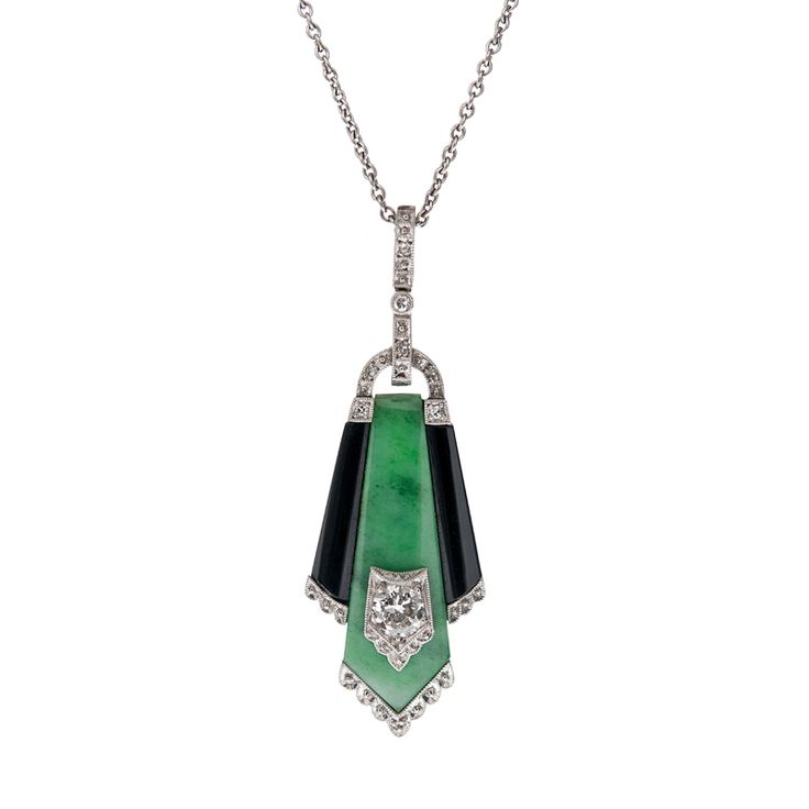 103 best art deco pendants images on pinterest ancient jewelry art deco jade onyx and diamond pendant circa 1930 mozeypictures Image collections